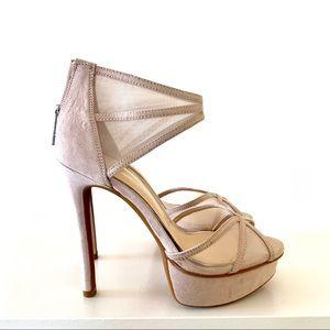Beige mesh heels size 5